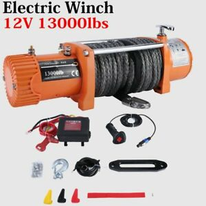 12v 13000lbs Electric Winch Towing Truck Trailer Synthetic Rope 12000lbs Us Ship