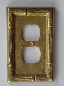 Vintage Brass Bamboo Outlet Cover