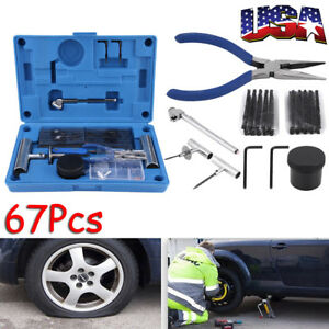 67pc Car Auto Tubeless Tyre Puncture Plug Tire Repair Motorcycle Cement Tool Kit