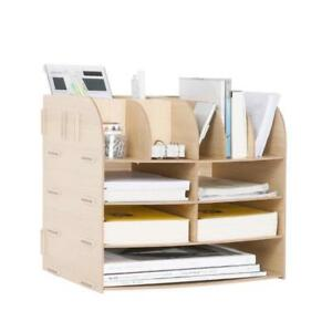 Wooden Drawer Desk Organizer School Office Home Storage Diy Compartments Shelf