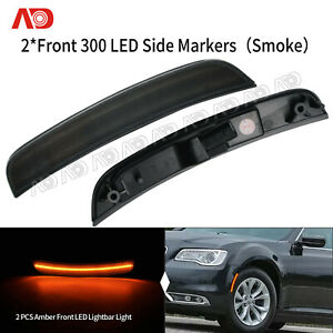 For Chrysler 300 2015 2019 Smoked Led Side Marker Light Lampfront Amber Red 2pc