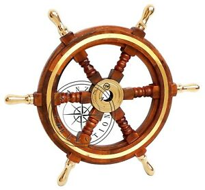 Vintage Style 18 Brass Wood Ship Wheel Helm Nautical Home Decor Boat Steering