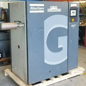 Used Atlas Copco Ga37 Rotary Screw Air Compressor 480 Volt 50 Hp Low Hours