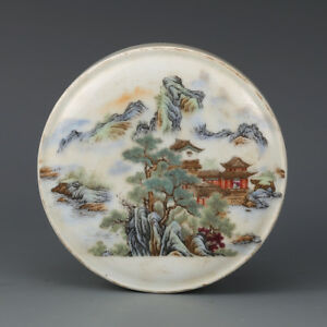 Fine Chinese Famille Rose Porcelain Scenery Powder Box