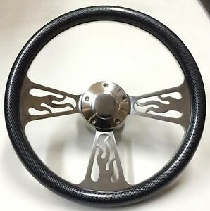 65 69 Ford Fairlane Mustang Flame Steering Wheel 14 Inch Aluminum With Carbo