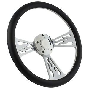 New World Motoring 65 69 Ford Ranchero Flame Steering Wheel 14 Inch Aluminum