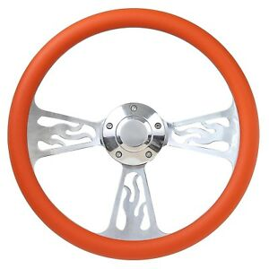 65 69 Ford Ranchero Flame Steering Wheel 14 Inch Aluminum With Orange Wrap