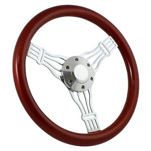 65 69 Ford Ranchero 14 Wood Billet Polished Steering Wheel Set Adapter