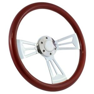 65 69 Ford Ranchero 15 Wood Billet Polished Steering Wheel Set Adapter
