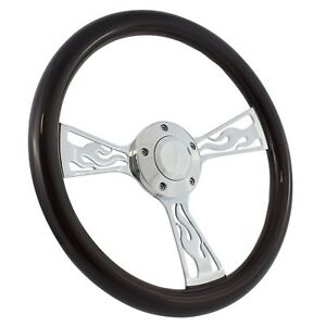 65 69 Ford Fairlane Mustang 14 Wood Billet Polished Steering Wheel Set Adap