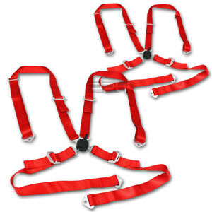 X2 2 Nylon Strap 4 Point Shoulder Camlock Harness Bar Red Racing Seat Belts