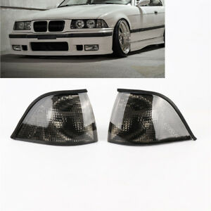Pair Smoke Corner Light Turn Signal For Bmw E36 3 2dr Coupe Convertible 92 98