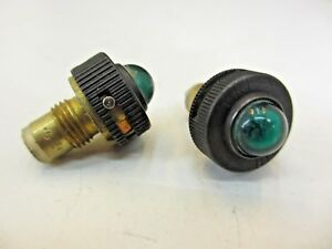 2 Vintage 1950s Dimmable Aircraft Green Dash Panel Indicator Lights Ge321g 1 2