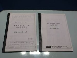 Mmk Matsumoto Rotary Table Operation Manual Md 400r 59 W Parts List