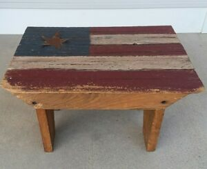 Rustic Primitive Americana Country Foot Stool Bench Country Decor American Flag
