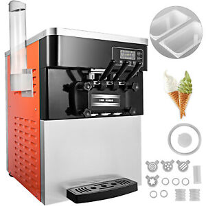 3 Flavors Commercial Frozen Yogurt Soft Ice Cream Cones Maker Machine 20 28l h
