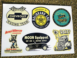 Hot Rod Retro Vintage Sticker Decal Set Ford Chevy Drag Race Speed Shop