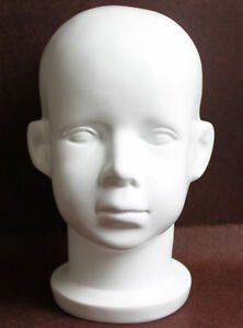 White Fiberglass Baby Child Children Mannequin Head For Wig hat And Sunglasses