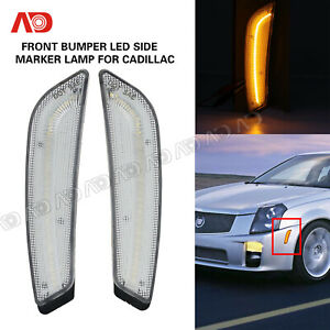 For Cadillac 03 07 Cts Cts V Led Side Fender Marker Light Lamp Front Clear Amber