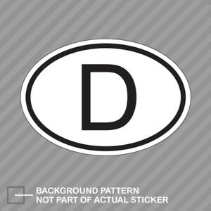 D Germany Country Code Oval Sticker Decal Vinyl German Euro