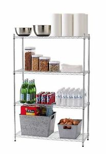 Chrome 54 x36 x14 4 Tier Shelf Adjustable Wire Metal Shelving Rack Household