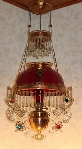 Rare Victorian Bradley Hubbard Jeweled Hanging Library Kerosene Oil Lamp
