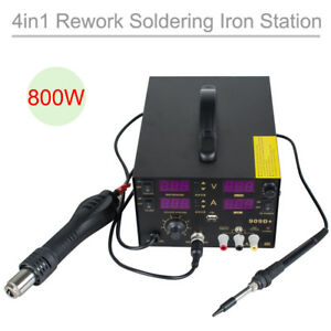 4in1 909d Rework Soldering Station Hot Heat Air Rifle Dc Power Supply Kit Set
