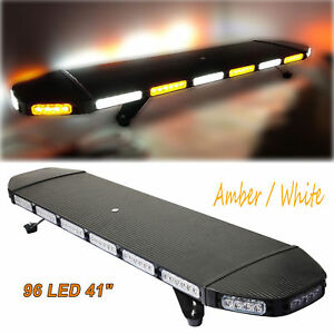 96 Led Light Bar Recovery Beacon Warn Tow Truck Plow Response Strobe Amber White