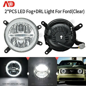 Halo Ring Led Fog Drl Daytime Running Light For 2005 2009 Ford Mustang Gt Clear