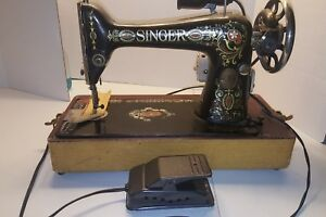 Vintage Antique Singer Sewing Machine Treadle Red Eye Motorized Working As Is