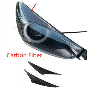 Carbon Fiber Headlight Eyebrows Eyelids Protect Trim For Mazda 3 Axela 2017 2018