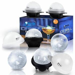 Unique Ice Ball Maker Sphere Mold - 4 Pack - Round Ice Cube Molds - Make Large