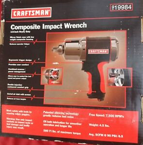 New Craftsman 1 2 Inch Composite Air Impact Wrench Heavy Duty 580 Ft Lbs torq