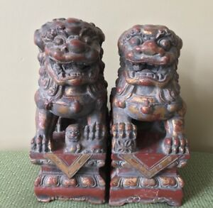 19c Chinese Carved Gilt Lacquered Wood Foo Dogs Yin Yang Pearl In Mouth