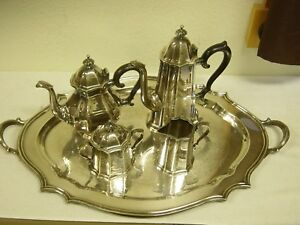 Reed And Barton Lexington And Concord Silver Plated Tea Service With Tray