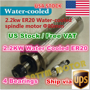 Usa 2 2kw Er20 220v Water Cooled Spindle Motor Engraving Milling Cnc Router Mill
