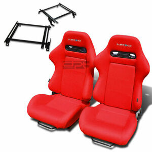 Nrg Type R Racing Seat Red Cloth Silder Rail For 02 06 Acura Rsx Dc5 Bracket X2