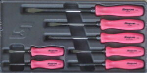 New Snap On 7 Piece Pink Hard Handle Screwdriver Set Sddx70amp