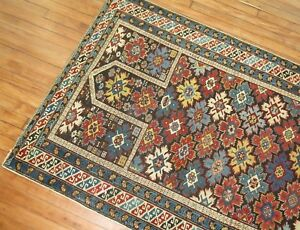 Antique Snowflake Caucasian Shirvan Kuba Prayer Rug Size 3 8 X4 10