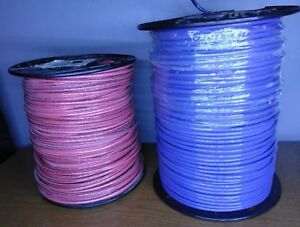 10 Strand 500 Ft Foot Copper Wire Blue Red Two Spools Lot