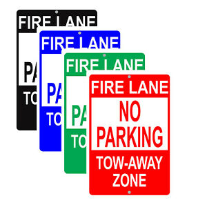 Fire Lane No Parking Tow away Zone Restriction Safety Notice Aluminum Metal Sign