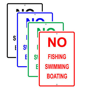 No Fishing Swimming Boating Outdoor Restriction Rules Notice Aluminum Metal Sign