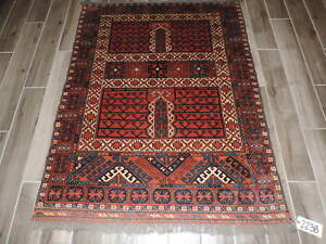 4x5ft Handmade Turkoman Enzi Wool Tent Door Rug