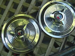 1963 1964 Ford Galaxie 500 Xl 427 Hp Spinner Hubcaps Wheel Covers Center Caps