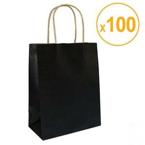 Halulu 100pcs 8 x4 75 x10 5 Black Kraft Paper Retail Shopping Bags With Rope