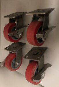 A Set Of Heavy Duty All Swivel Casters Stainless With Stopper