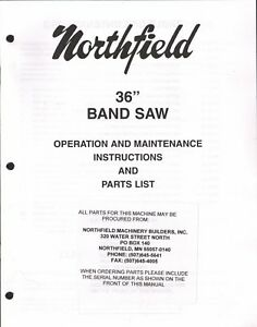 Northfield 36 Bandsaw Operations Instructions Parts List Pdf