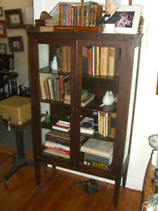 Antique Stained Oak China Cabinet 3 Shelves W 3 Sides Glass C 1930 S Depression