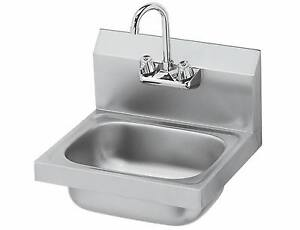 Stainless Steel Wall Mount Hand Sink W Faucet 14 x10 x5 nsf new