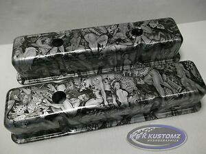 New Custom Sbc Small Block Chevy Naughty Boy Valve Covers
